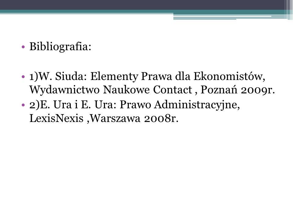 Bibliografia: 1)W. Siuda: Elementy Prawa dla Ekonomistów, Wydawnictwo Naukowe Contact , Poznań 2009r.