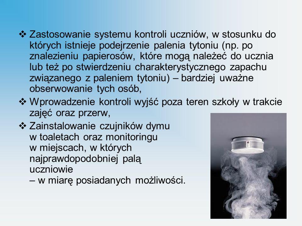 Zastosowanie systemu kontroli uczniów, w stosunku do których istnieje podejrzenie palenia tytoniu (np. po znalezieniu papierosów, które mogą należeć do ucznia lub też po stwierdzeniu charakterystycznego zapachu związanego z paleniem tytoniu) – bardziej uważne obserwowanie tych osób,