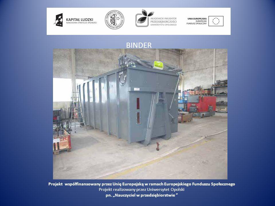 BINDER Projekt współfinansowany przez Unię Europejską w ramach Europejskiego Funduszu Społecznego.