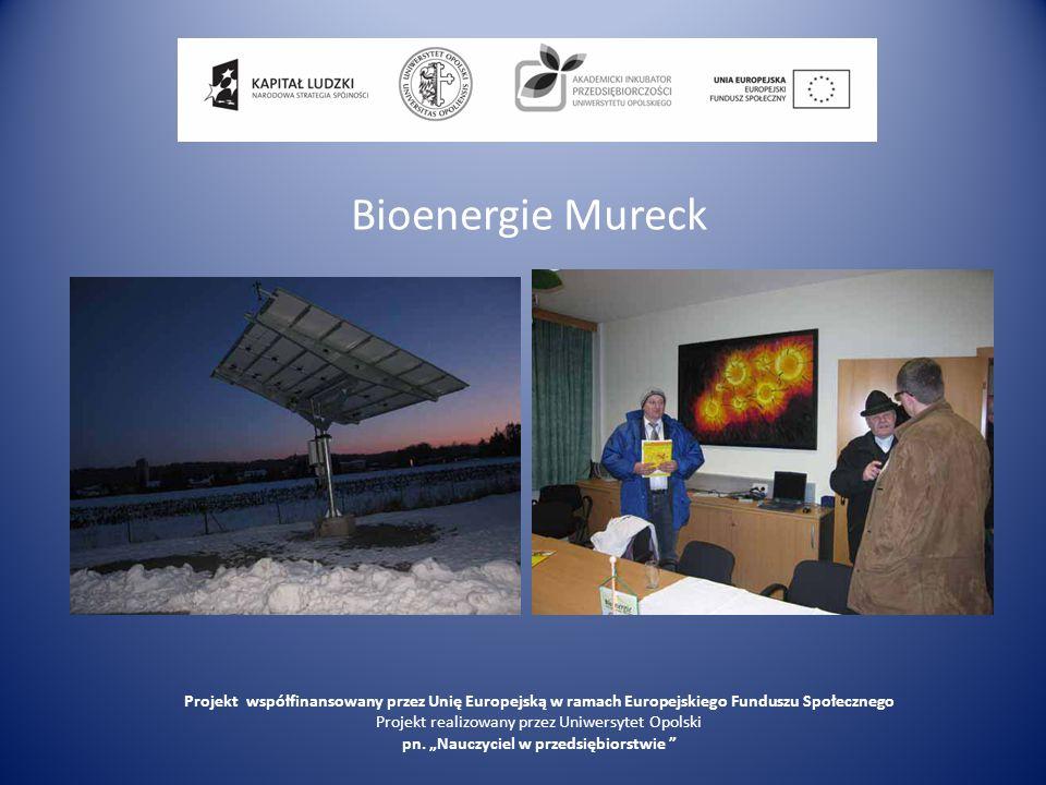 Bioenergie Mureck Projekt współfinansowany przez Unię Europejską w ramach Europejskiego Funduszu Społecznego.
