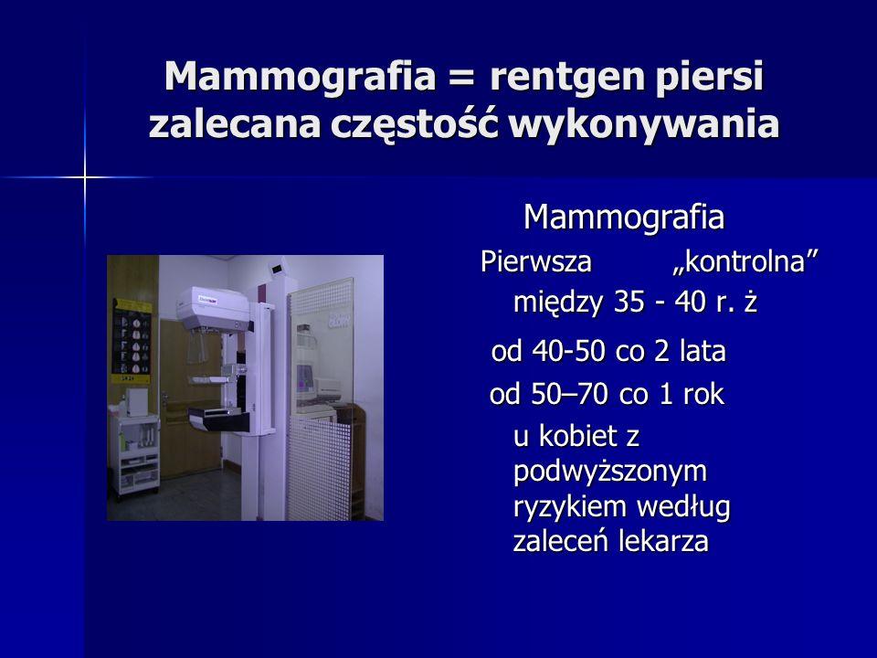 Mammografia = rentgen piersi zalecana częstość wykonywania