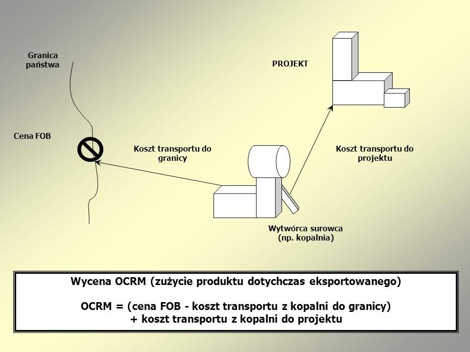Wycena OCRM (zużycie produktu dotychczas eksportowanego)