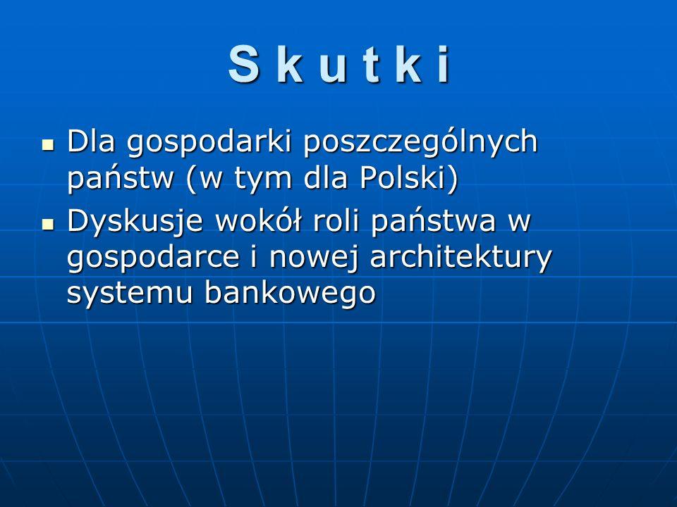 S k u t k i Dla gospodarki poszczególnych państw (w tym dla Polski)