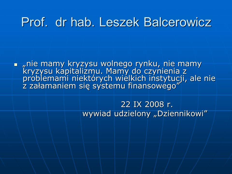 Prof. dr hab. Leszek Balcerowicz