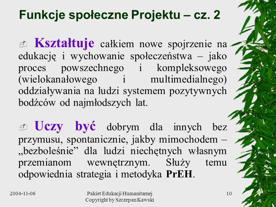 Funkcje społeczne Projektu – cz. 2