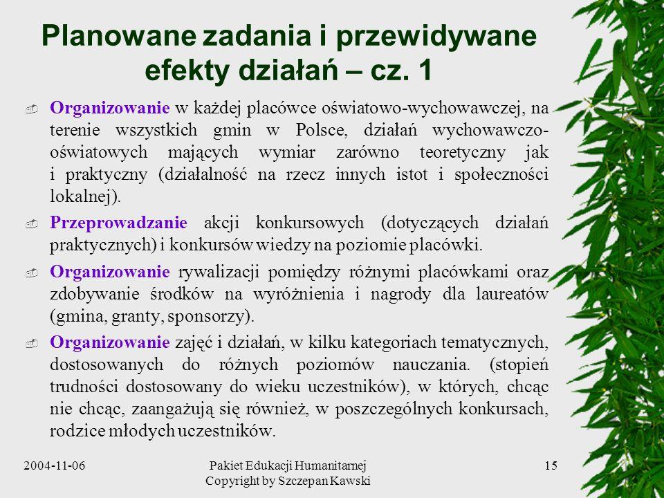 Planowane zadania i przewidywane efekty działań – cz. 1