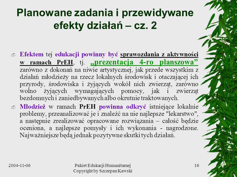 Planowane zadania i przewidywane efekty działań – cz. 2
