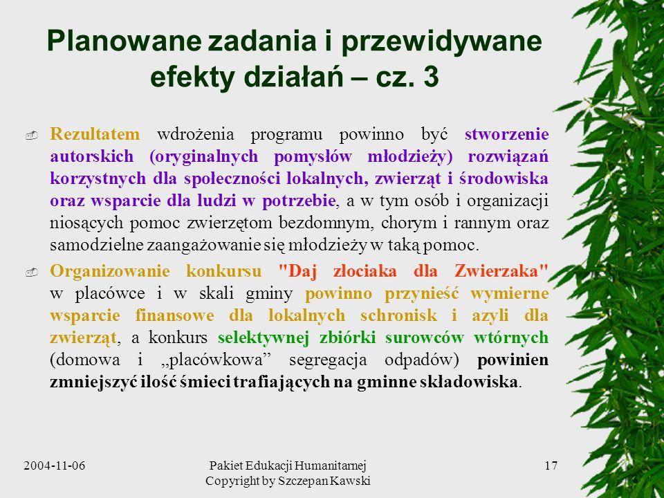 Planowane zadania i przewidywane efekty działań – cz. 3