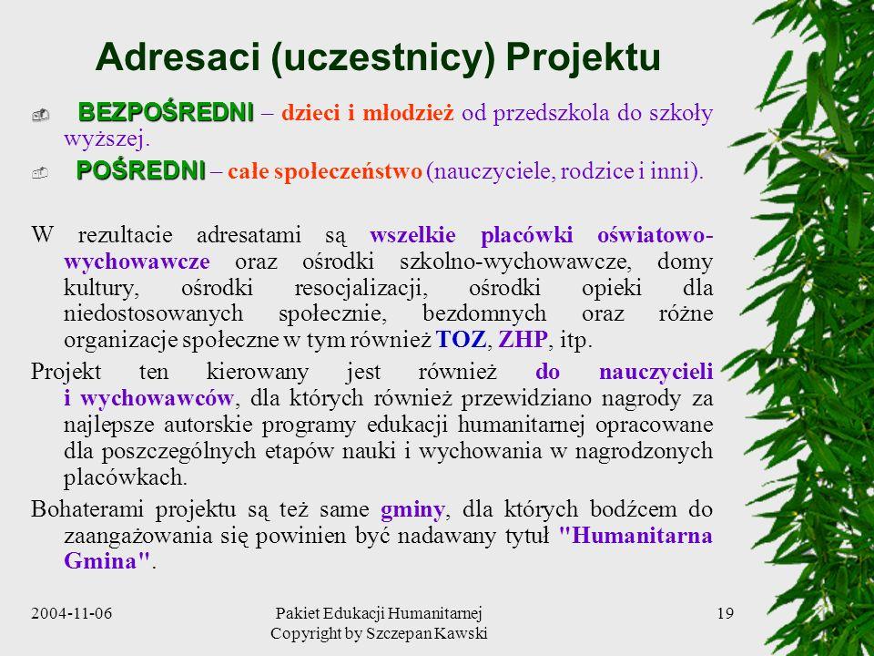 Adresaci (uczestnicy) Projektu