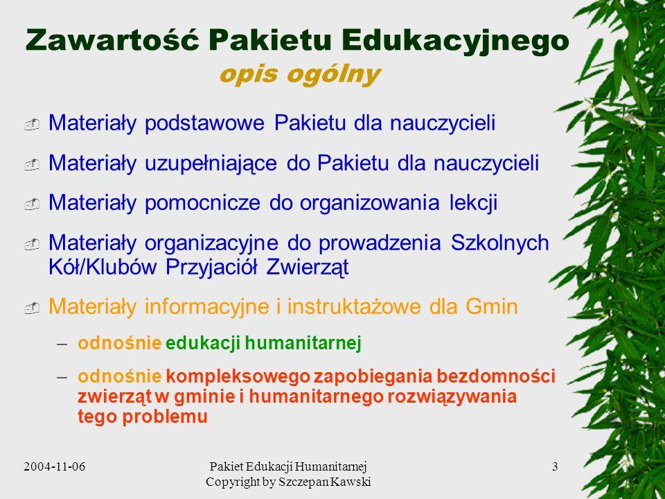 Zawartość Pakietu Edukacyjnego opis ogólny