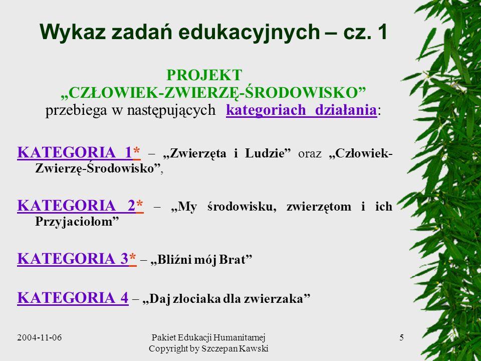Wykaz zadań edukacyjnych – cz. 1