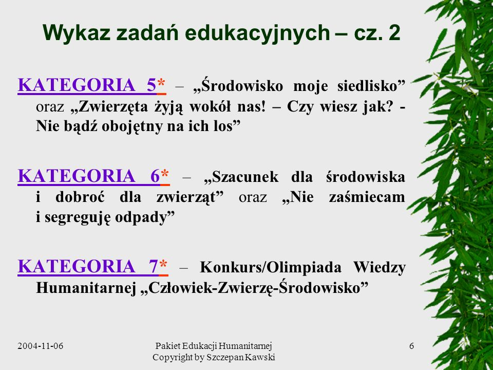 Wykaz zadań edukacyjnych – cz. 2