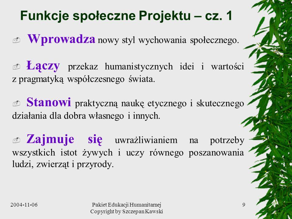 Funkcje społeczne Projektu – cz. 1