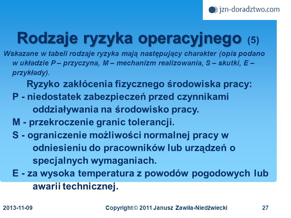 Rodzaje ryzyka operacyjnego (5)