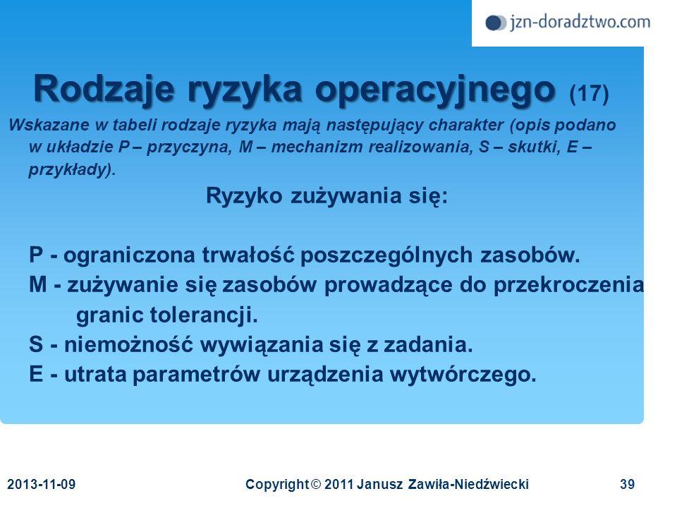 Rodzaje ryzyka operacyjnego (17)