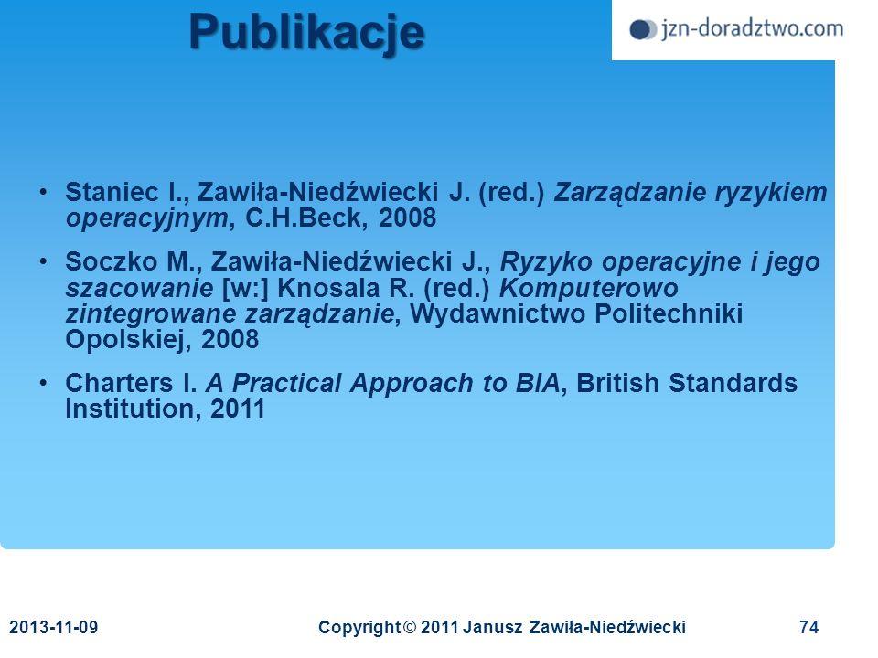 Publikacje 2017-03-24. Staniec I., Zawiła-Niedźwiecki J. (red.) Zarządzanie ryzykiem operacyjnym, C.H.Beck, 2008.