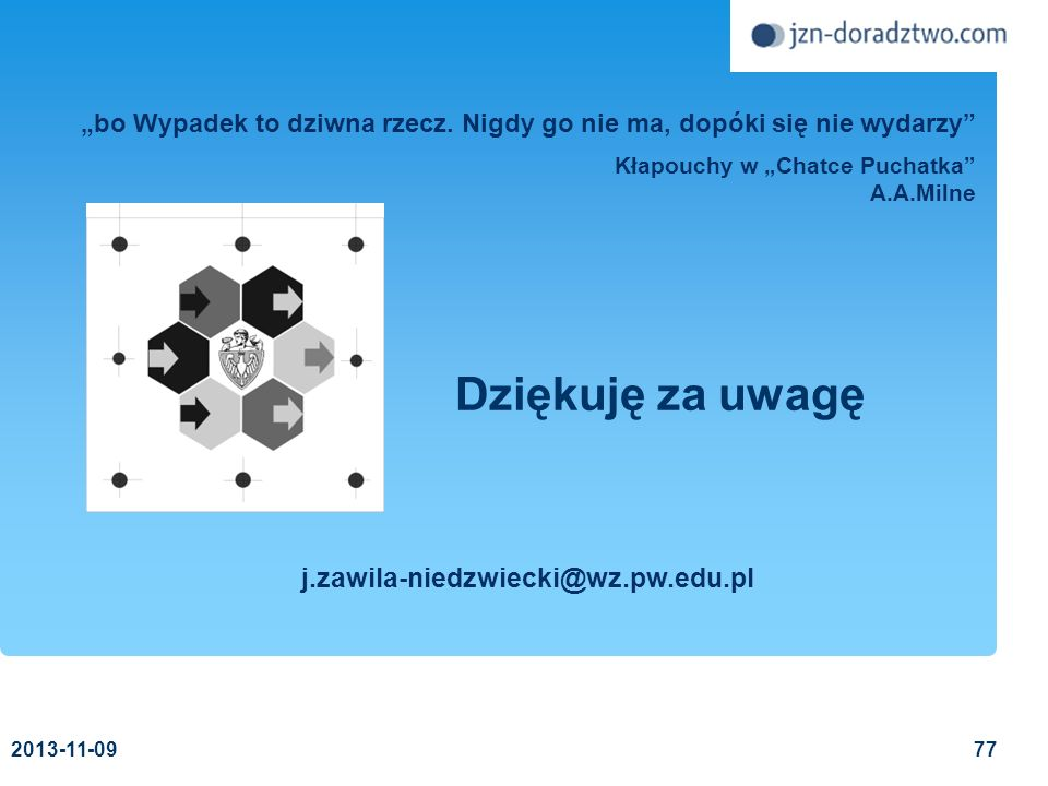Dziękuję za uwagę j.zawila-niedzwiecki@wz.pw.edu.pl