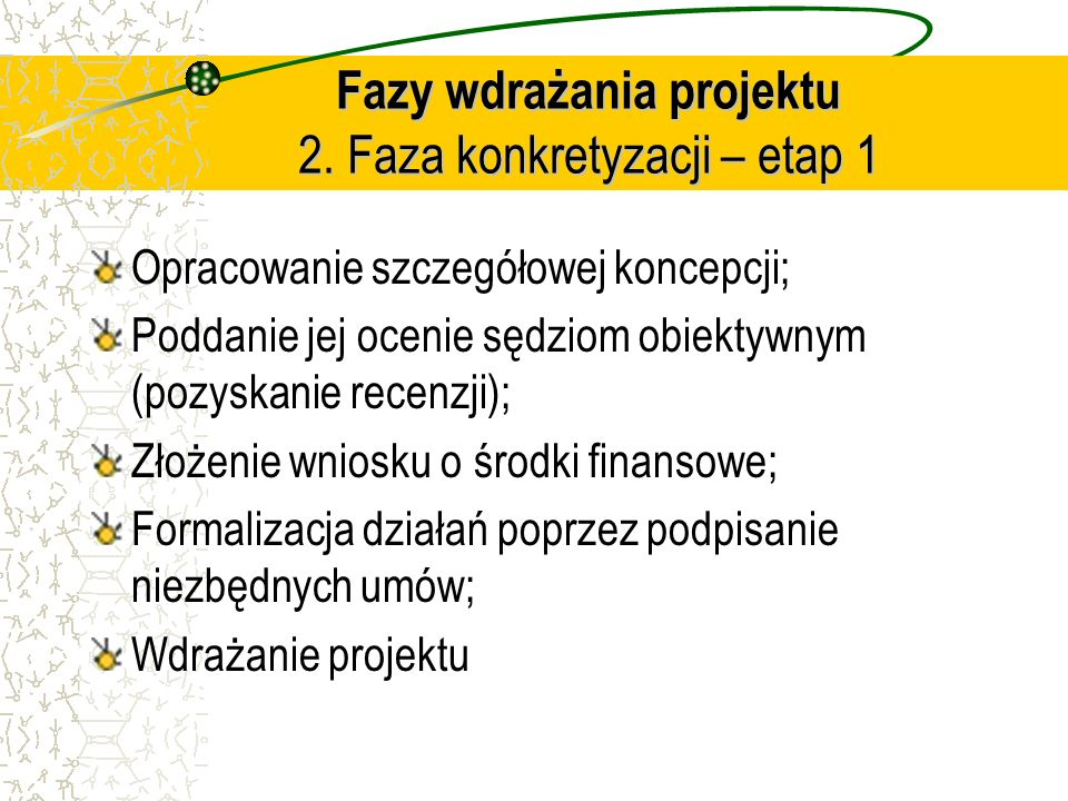 Fazy wdrażania projektu 2. Faza konkretyzacji – etap 1
