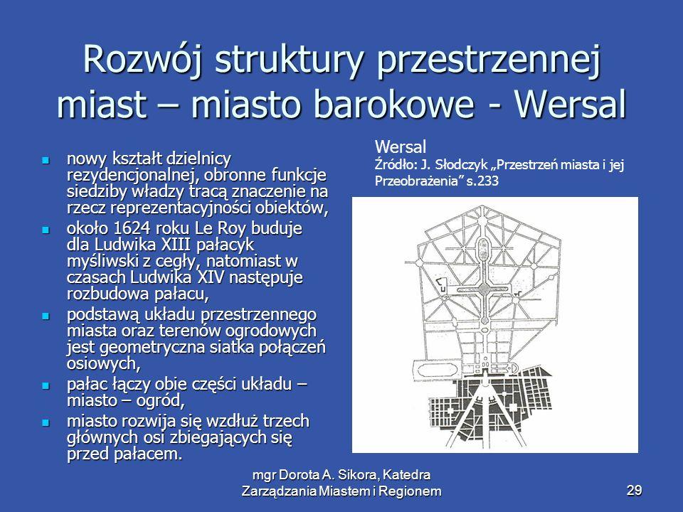 Rozwój struktury przestrzennej miast – miasto barokowe - Wersal