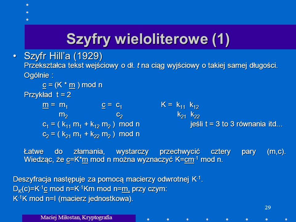 Szyfry wieloliterowe (1)