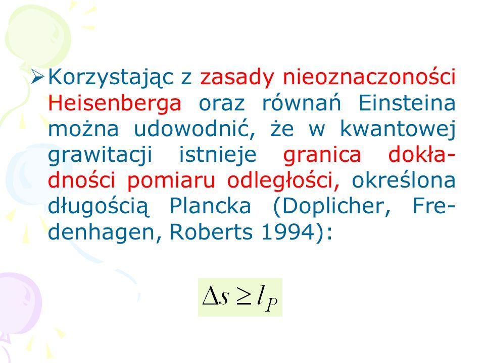Korzystając z zasady nieoznaczoności Heisenberga oraz równań Einsteina można udowodnić, że w kwantowej grawitacji istnieje granica dokła-dności pomiaru odległości, określona długością Plancka (Doplicher, Fre-denhagen, Roberts 1994):