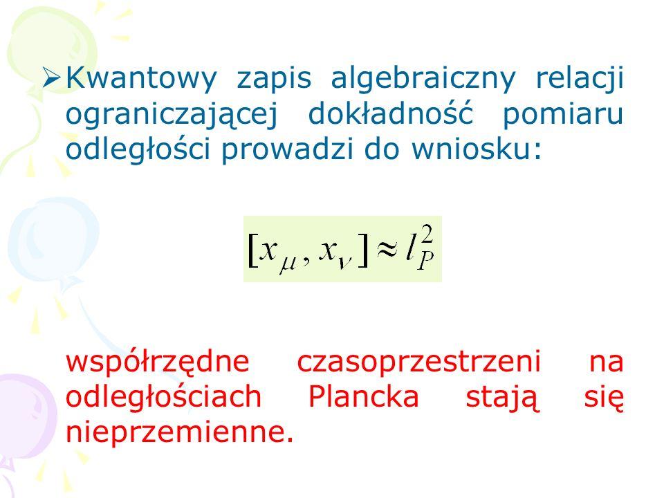 Kwantowy zapis algebraiczny relacji ograniczającej dokładność pomiaru odległości prowadzi do wniosku: