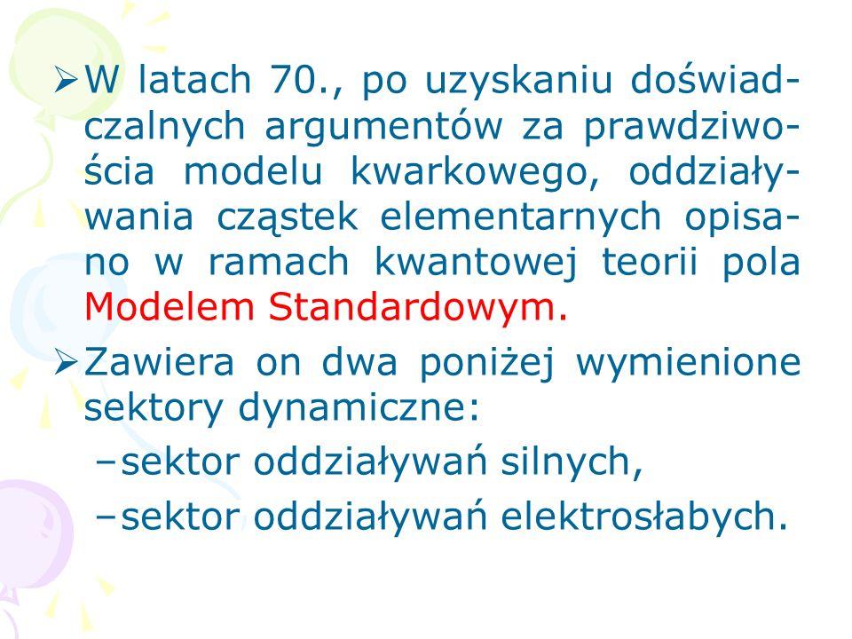 W latach 70., po uzyskaniu doświad-czalnych argumentów za prawdziwo-ścia modelu kwarkowego, oddziały-wania cząstek elementarnych opisa-no w ramach kwantowej teorii pola Modelem Standardowym.