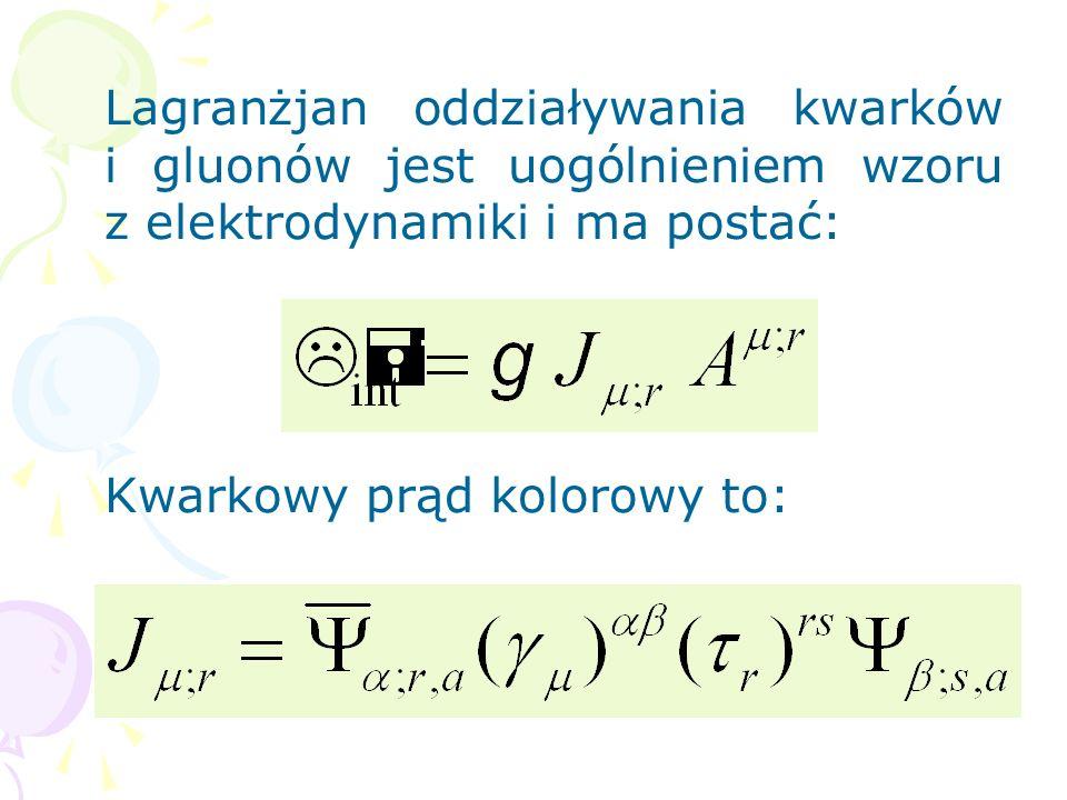 Lagranżjan oddziaływania kwarków i gluonów jest uogólnieniem wzoru z elektrodynamiki i ma postać: