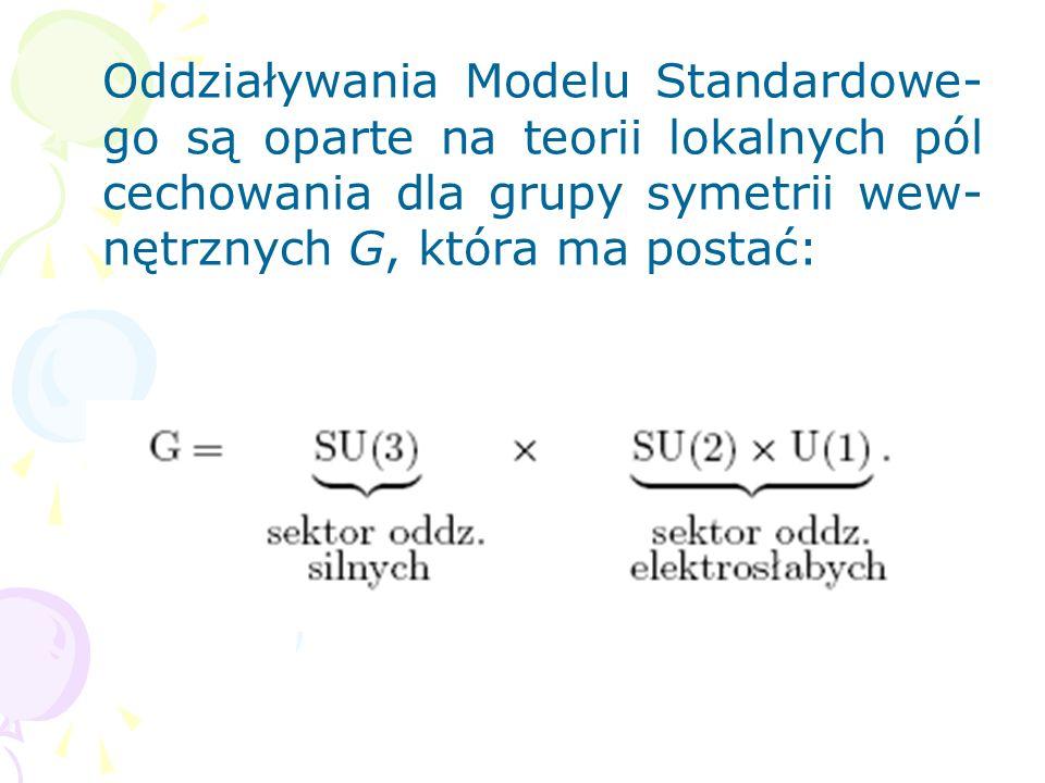 Oddziaływania Modelu Standardowe-go są oparte na teorii lokalnych pól cechowania dla grupy symetrii wew-nętrznych G, która ma postać: