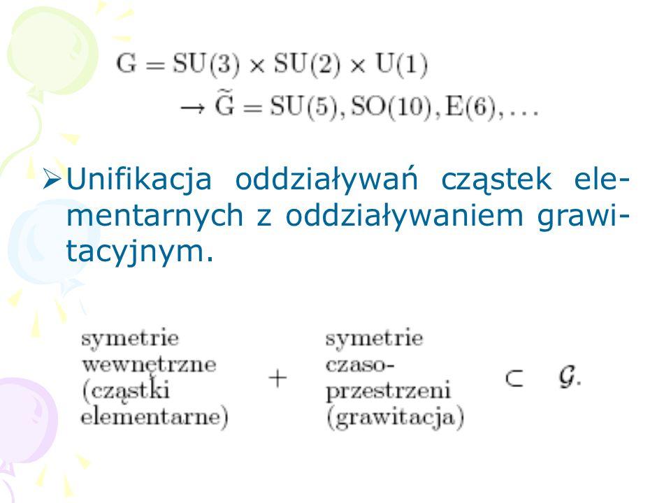 Unifikacja oddziaływań cząstek ele-mentarnych z oddziaływaniem grawi-tacyjnym.