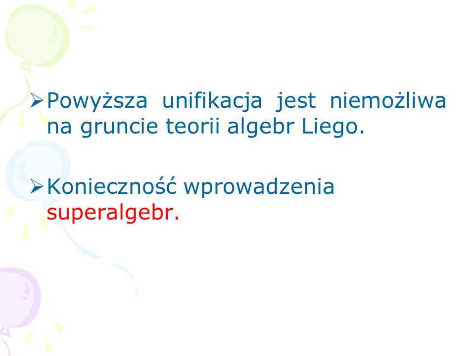 Powyższa unifikacja jest niemożliwa na gruncie teorii algebr Liego.