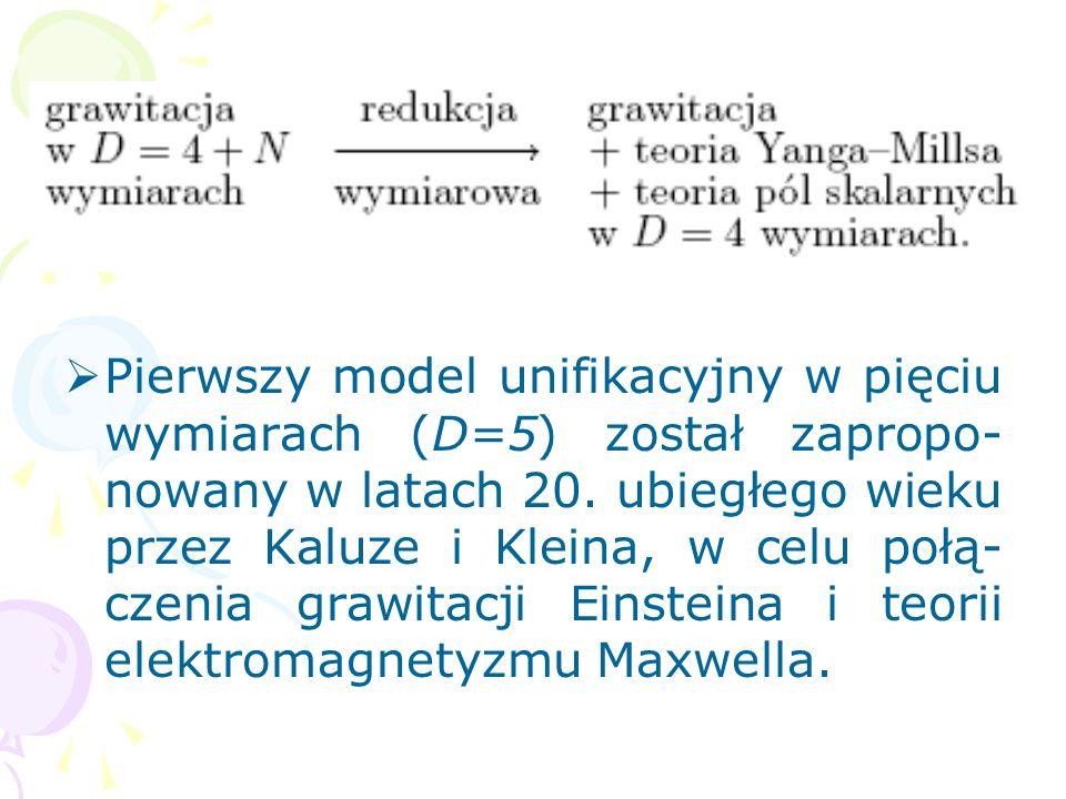 Pierwszy model unifikacyjny w pięciu wymiarach (D=5) został zapropo-nowany w latach 20.