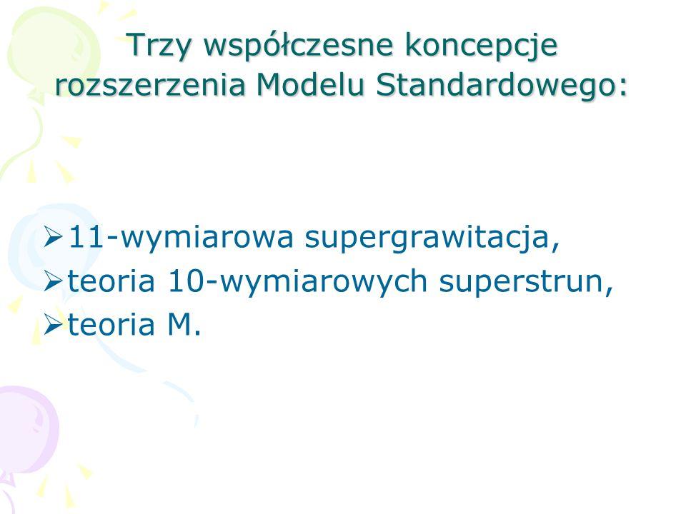Trzy współczesne koncepcje rozszerzenia Modelu Standardowego: