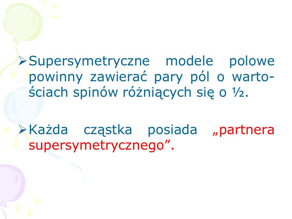 Supersymetryczne modele polowe powinny zawierać pary pól o warto-ściach spinów różniących się o ½.