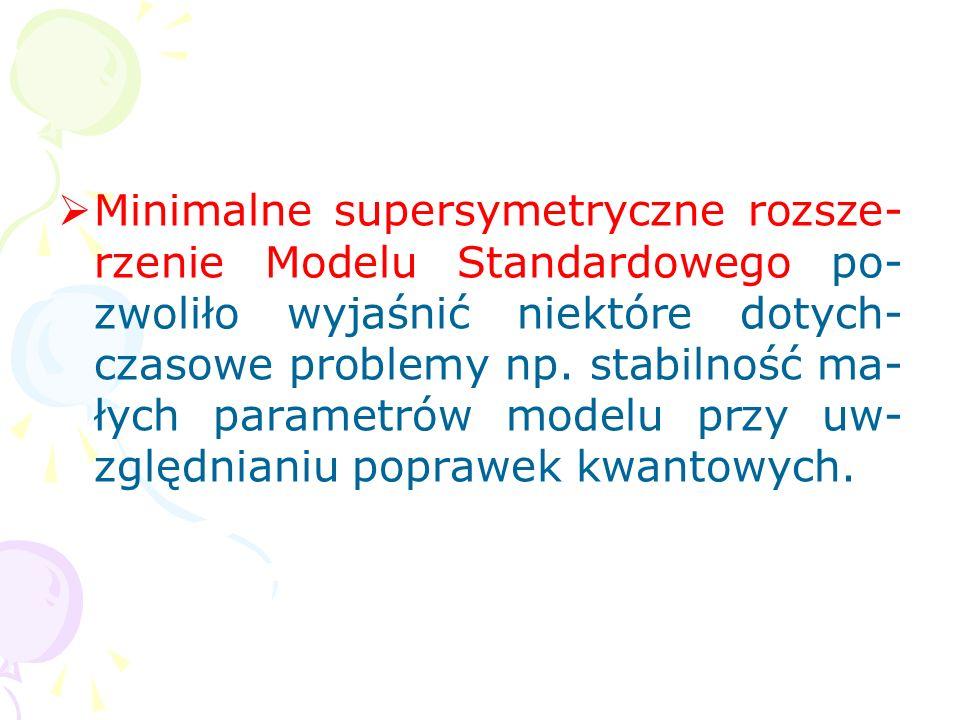 Minimalne supersymetryczne rozsze-rzenie Modelu Standardowego po-zwoliło wyjaśnić niektóre dotych-czasowe problemy np.