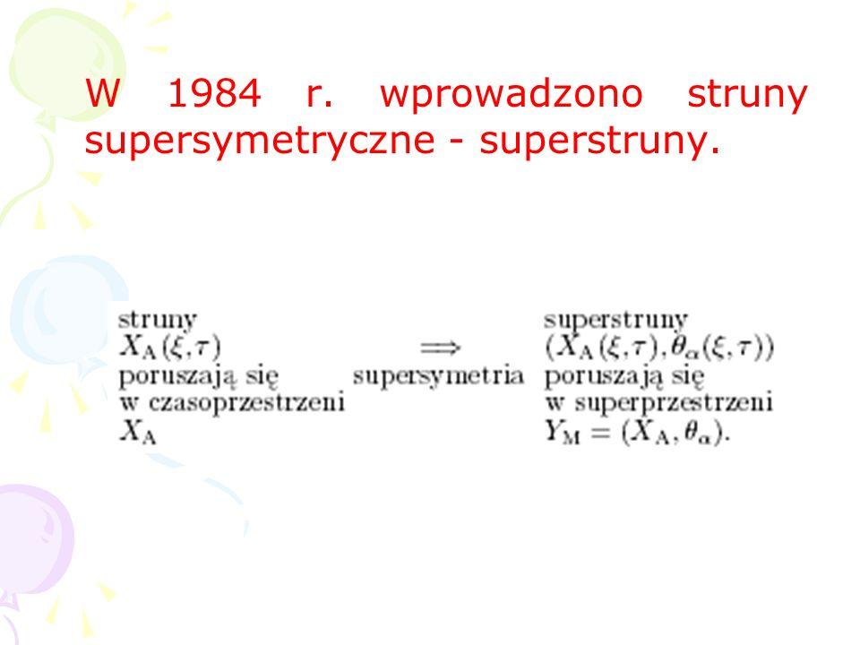 W 1984 r. wprowadzono struny supersymetryczne - superstruny.