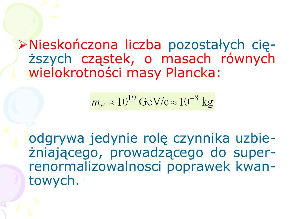 Nieskończona liczba pozostałych cię-ższych cząstek, o masach równych wielokrotności masy Plancka: