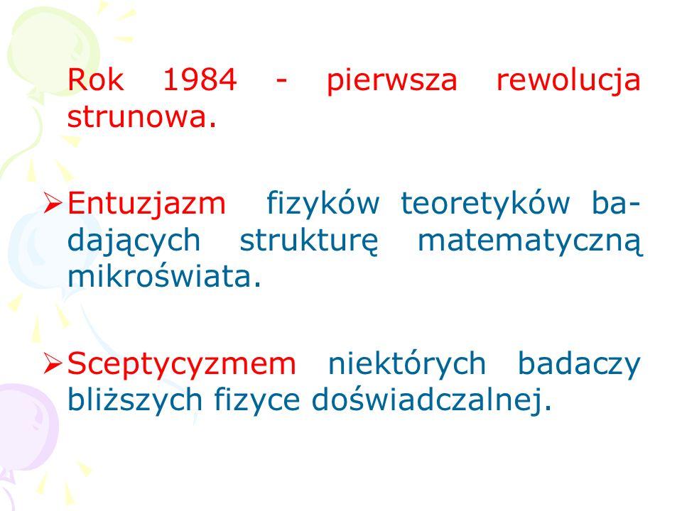 Rok 1984 - pierwsza rewolucja strunowa.