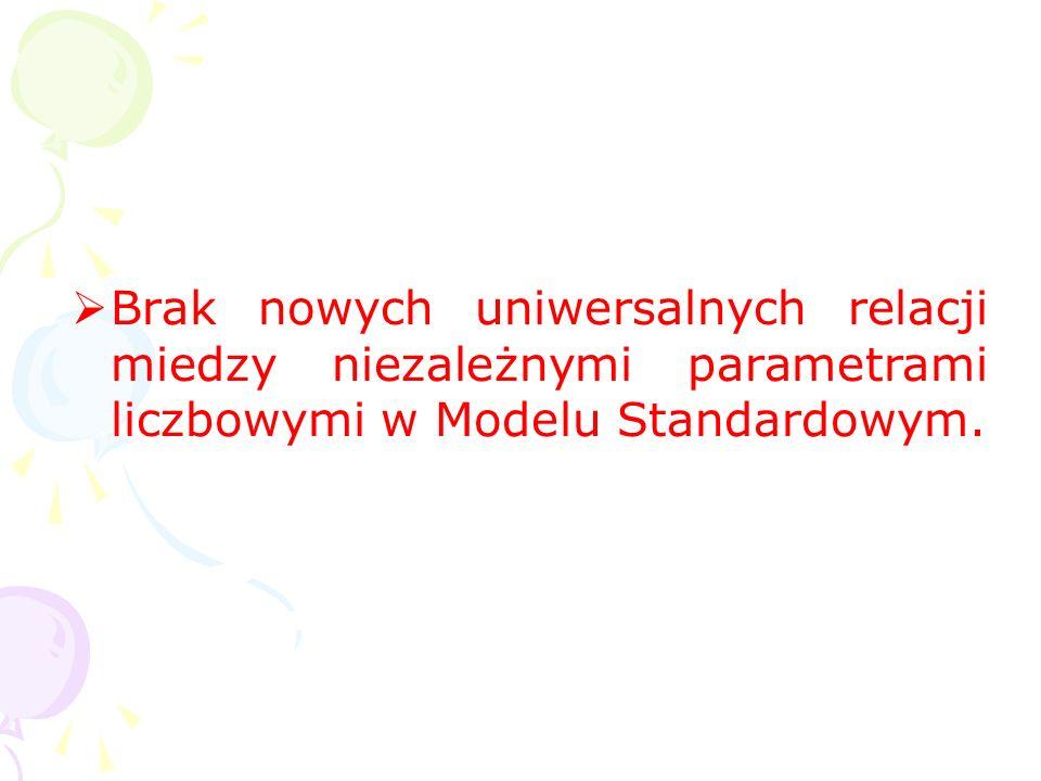 Brak nowych uniwersalnych relacji miedzy niezależnymi parametrami liczbowymi w Modelu Standardowym.