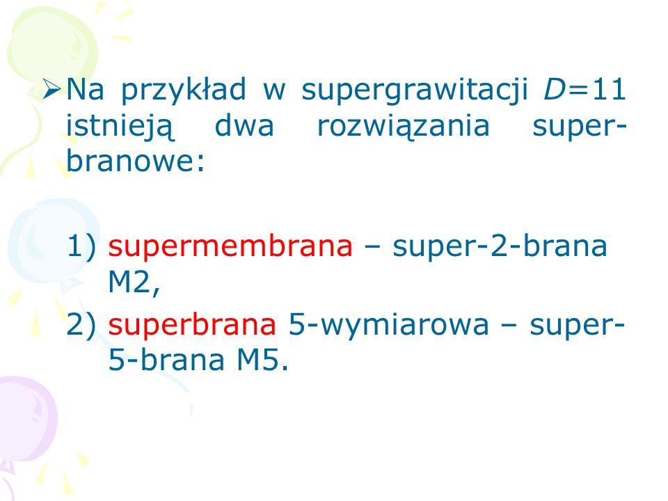 Na przykład w supergrawitacji D=11 istnieją dwa rozwiązania super-branowe: