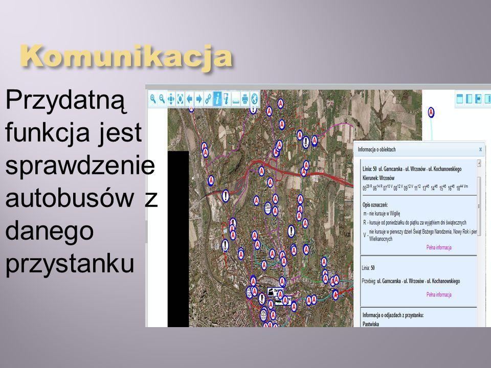 Komunikacja Przydatną funkcja jest sprawdzenie autobusów z danego przystanku