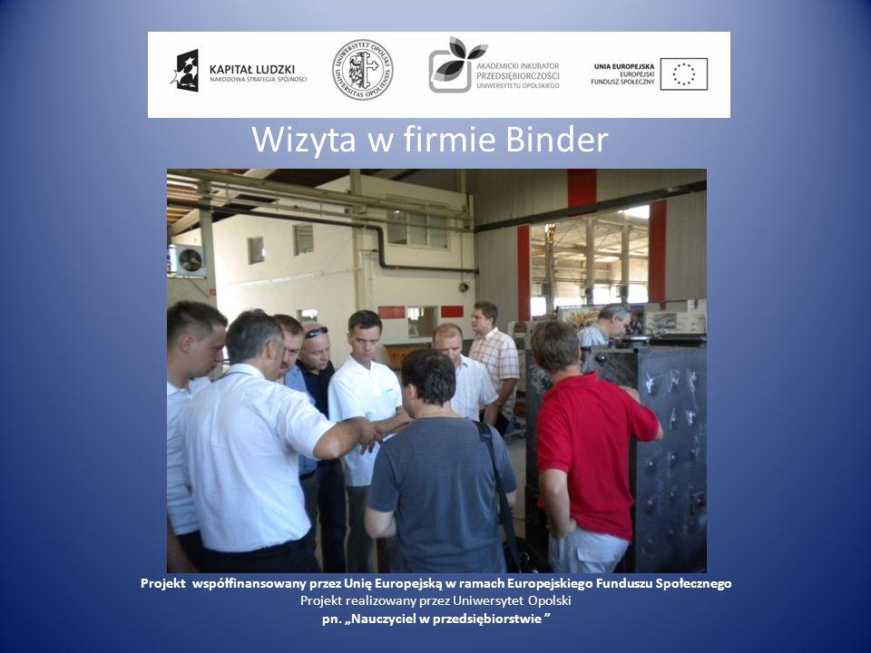 Wizyta w firmie BinderProjekt współfinansowany przez Unię Europejską w ramach Europejskiego Funduszu Społecznego.