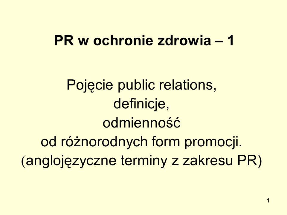 Pojęcie public relations, definicje, odmienność