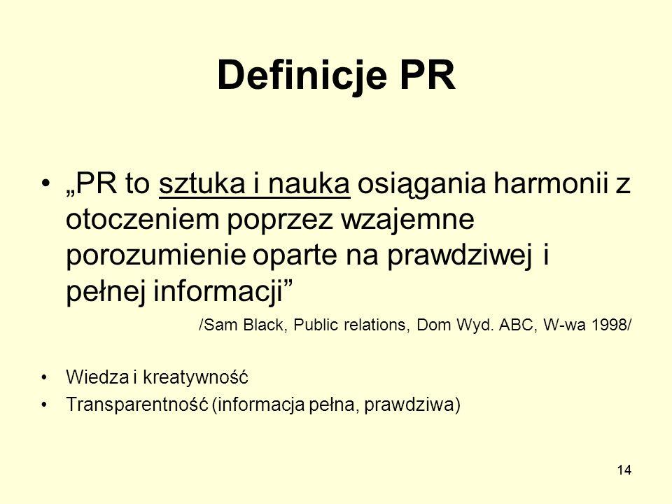 """Definicje PR""""PR to sztuka i nauka osiągania harmonii z otoczeniem poprzez wzajemne porozumienie oparte na prawdziwej i pełnej informacji"""