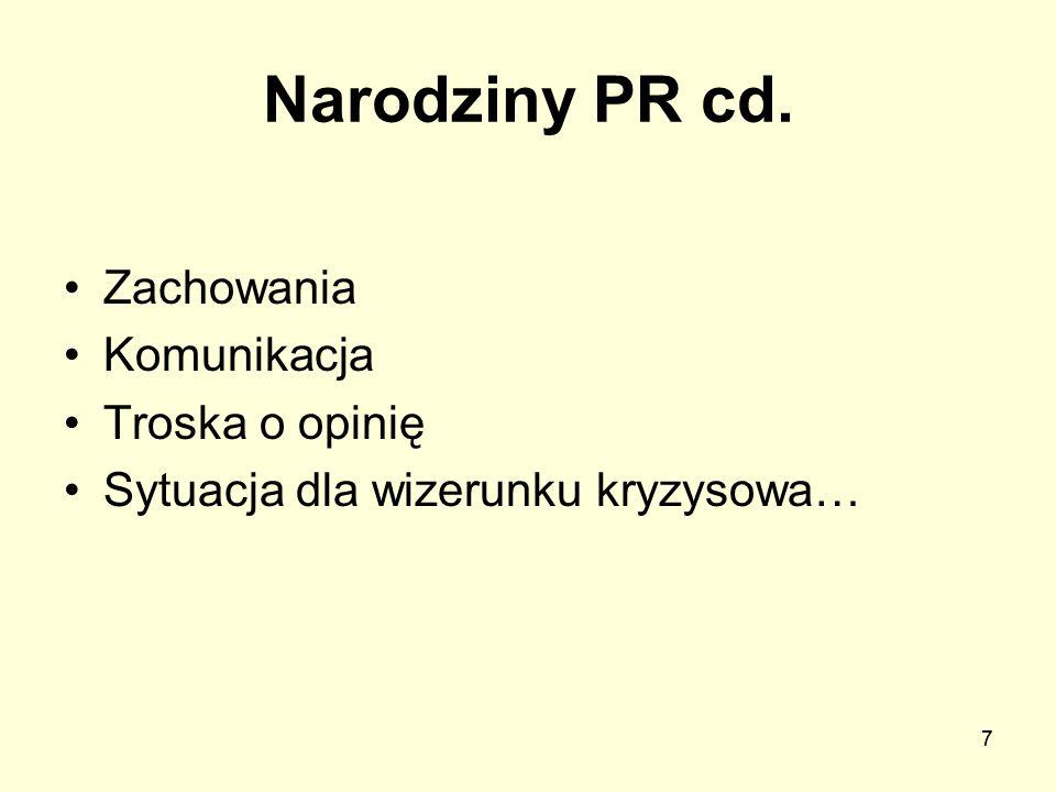 Narodziny PR cd. Zachowania Komunikacja Troska o opinię