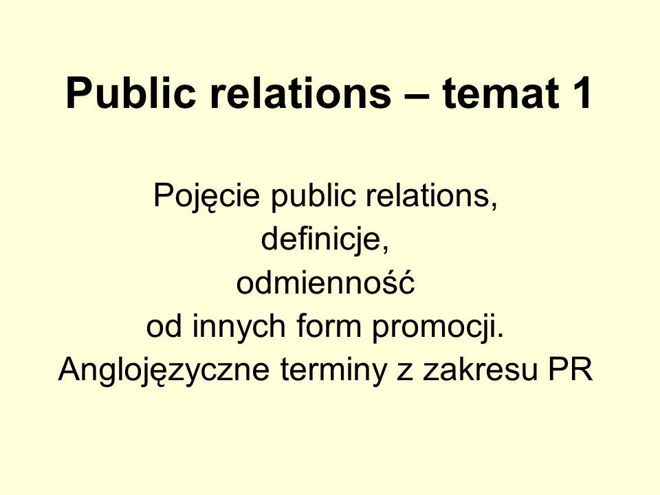 Public relations – temat 1