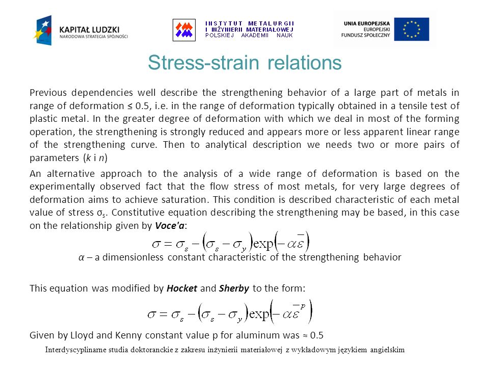 Stress-strain relations