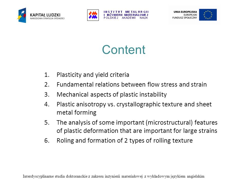Content Plasticity and yield criteria