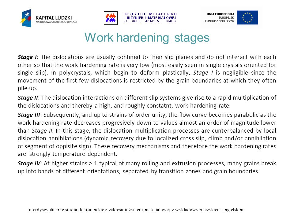 Work hardening stages