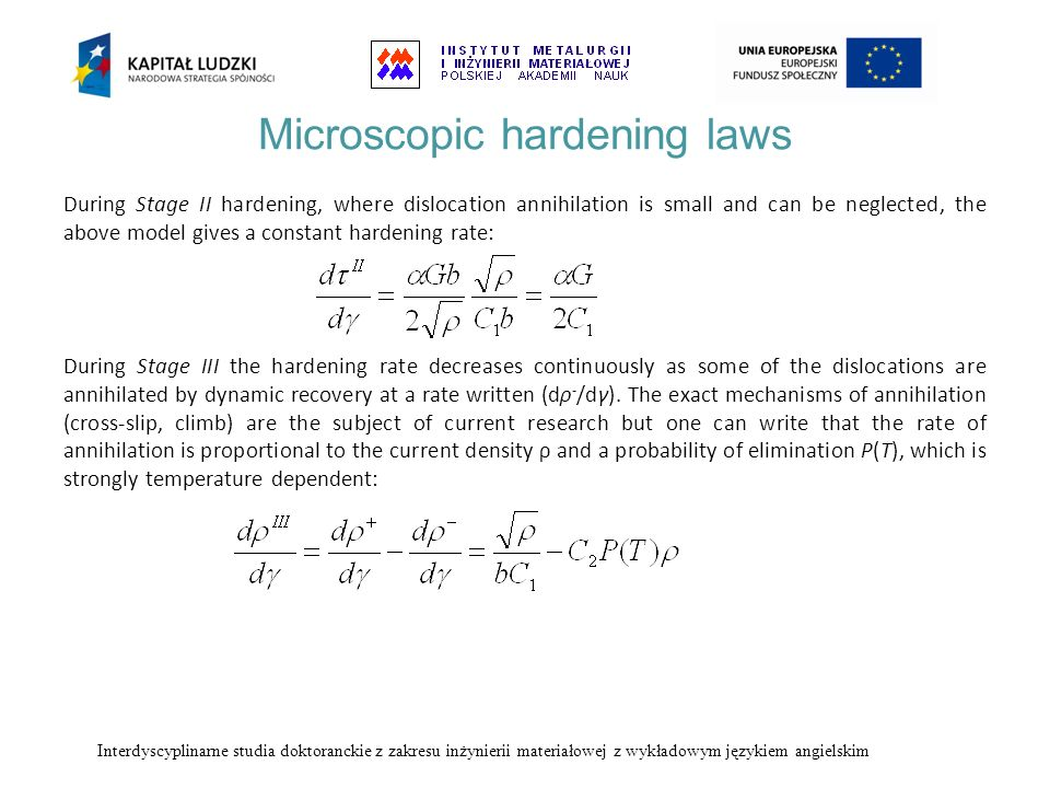 Microscopic hardening laws